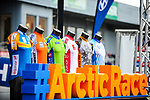 The leaders jerseys on display at sign on before the start Stage 2 of the 2018 Artic Race of Norway, running 195km from Tana to Kjøllefjord, Norway. 17th August 2018. <br /> <br /> Picture: ASO/Gautier Demouveaux | Cyclefile<br /> All photos usage must carry mandatory copyright credit (© Cyclefile | ASO/Gautier Demouveaux)