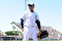 Detroit Tigers third baseman Miguel Cabrera #24 walks to the clubhouse during a Spring Training game against the Tampa Bay Rays at Joker Marchant Stadium on March 29, 2013 in Lakeland, Florida.  (Mike Janes/Four Seam Images)
