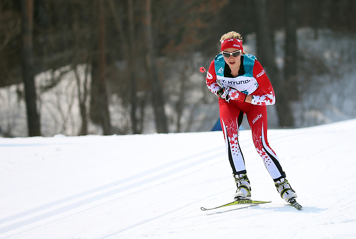 Natalie Wilkie, PyeongChang 2018 - Para Nordic Skiing // Ski paranordique.<br /> Natalie Wilkie competes in the women 15km cross country race // Natalie Wilkie participe au course 15 km de cross-country féminin. 12/03/2018.