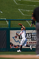Minnesota Twins outfielder Rob Refsnyder (38) catches a fly ball during a Major League Spring Training game against the Pittsburgh Pirates on March 16, 2021 at Hammond Stadium in Fort Myers, Florida.  (Mike Janes/Four Seam Images)