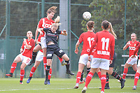forward Sanne Schoenmakers (8 Standard) and midfielder Laura Vervacke (20 Zulte-Waregem) pictured during a female soccer game between Standard Femina de Liege and Dames SV Zulte Waregem on the fifth matchday of the 2020 - 2021 season of Belgian Scooore Womens Super League , saturday 17 th of October 2020  in Angleur , Belgium . PHOTO SPORTPIX.BE | SPP | STIJN AUDOOREN