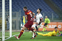 Football, Serie A: AS Roma - Cagliari calcio, Olympic stadium, Rome, December 23, 2020. <br /> Roma's captain Edin Dzeko (l) celebrates after scoring during the Italian Serie A football match between Roma and Cagliari at Rome's Olympic stadium, on December 23, 2020.  <br /> UPDATE IMAGES PRESS/Isabella Bonotto