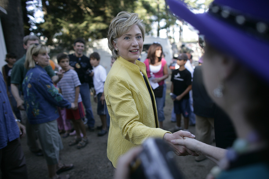 Democratic presidential hopeful, U.S. Sen. Hillary Rodham Clinton, D-N.Y. and her husband former president Bill Clinton during a campaign stop at the Hokinton Fair in Contoocook, N.H., Sunday, Sept. 2, 2007..<br /> Photo by Brooks Kraft/Corbis