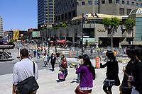 Travaux de ré-aménagements urbains, été 2011 - Quartier des spectacles.<br /> <br /> Photo : Agence Quebec Presse.