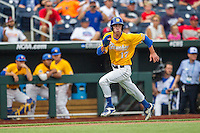 UC Santa Barbara Gauchos shortstop Clay Fisher (17) sprints home against the Miami Hurricanes in Game 5 of the NCAA College World Series on June 20, 2016 at TD Ameritrade Park in Omaha, Nebraska. UC Santa Barbara defeated Miami  5-3. (Andrew Woolley/Four Seam Images)