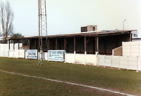 The covered terrace at Aveley FC, Mill Field, Aveley, Essex, pictured on 21 September 1987