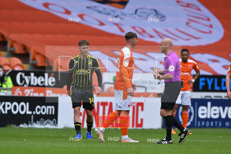 09/05/2021 Sky Bet League 1 Blackpool v Bristol Rovers  <br /> <br /> Brad Holmes booked on his debut