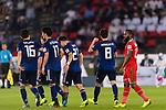Haraguchi Genki of Japan (2nd R) celebrates scoring during the AFC Asian Cup UAE 2019 Group F match between Oman (OMA) and Japan (JPN) at Zayed Sports City Stadium on 13 January 2019 in Abu Dhabi, United Arab Emirates. Photo by Marcio Rodrigo Machado / Power Sport Images