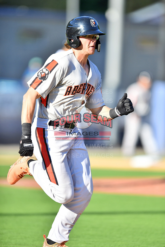 Aberdeen IronBirds Toby Welk (18) runs to first base during a game against the Asheville Tourists on June 15, 2021 at McCormick Field in Asheville, NC. (Tony Farlow/Four Seam Images)