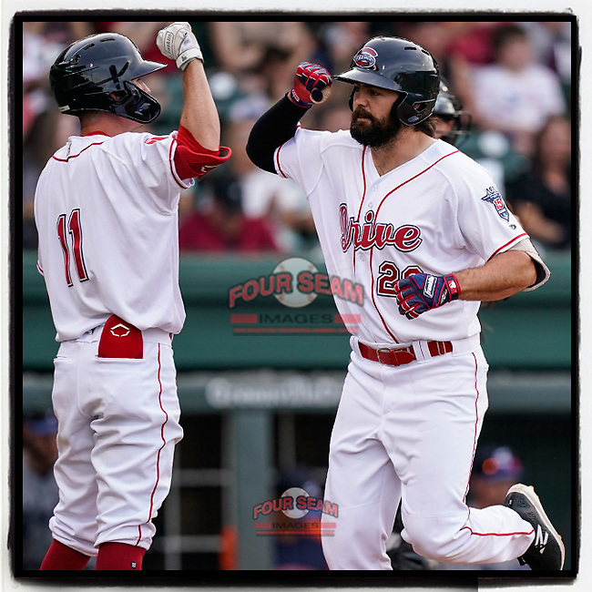 Right fielder Devlin Granberg (26) of the Greenville Drive is greeted after hitting a home run in a game against the Asheville Tourists on Tuesday, June 1, 2021, at Fluor Field at the West End in Greenville, South Carolina. (Tom Priddy/Four Seam Images) #MiLB #baseball