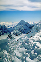 Aerial view of mountains & glaciers, Denali National Park. Alaska United States Denali National Park.