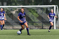 NEWTON, MA - SEPTEMBER 12: Ashley Blaka #33 of Holy Cross brings the ball forward during a game between Holy Cross and Boston College at Newton Campus Soccer Field on September 12, 2021 in Newton, Massachusetts.