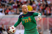 Spain goalkeeper Jose Manuel Reina (23). The men's national team of Spain (ESP) defeated the United States (USA) 4-0 during a International friendly at Gillette Stadium in Foxborough, MA, on June 04, 2011.