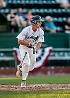 20 June 2021: Vermont Lake Monsters infielder Jakob Bullard, from Hampton, NH, hits a triple in the 8th inning against the Westfield Starfires at Centennial Field in Burlington, Vermont. Bullard subsequently scored on Sky Rahill's home run as the Lake Monsters were unable to rally, falling to the Starfires 10-2 at Centennial Field, in Burlington, Vermont. Mandatory Credit: Ed Wolfstein Photo *** RAW (NEF) Image File Available ***