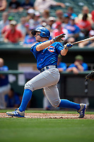 Iowa Cubs center fielder John Andreoli (7) follows through on a swing during a game against the Memphis Redbirds on May 29, 2017 at AutoZone Park in Memphis, Tennessee.  Memphis defeated Iowa 6-5.  (Mike Janes/Four Seam Images)
