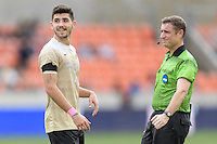 Houston, TX - Friday December 11, 2016: Jon Bakero (7) of the Wake Forest Demon Deacons reacts to missing a shot on goal against the Stanford Cardinal at the NCAA Men's Soccer Finals at BBVA Compass Stadium in Houston Texas.