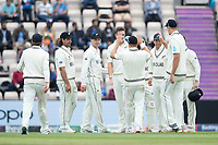 Tim Southee, New Zealand celebrates with his team mates following the wicket of Ashwin during India vs New Zealand, ICC World Test Championship Final Cricket at The Hampshire Bowl on 20th June 2021