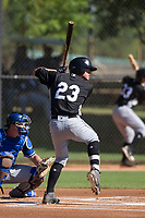 Chicago White Sox outfielder Blake Rutherford (23) at bat during an Instructional League game against the Los Angeles Dodgers on September 30, 2017 at Camelback Ranch in Glendale, Arizona. (Zachary Lucy/Four Seam Images)