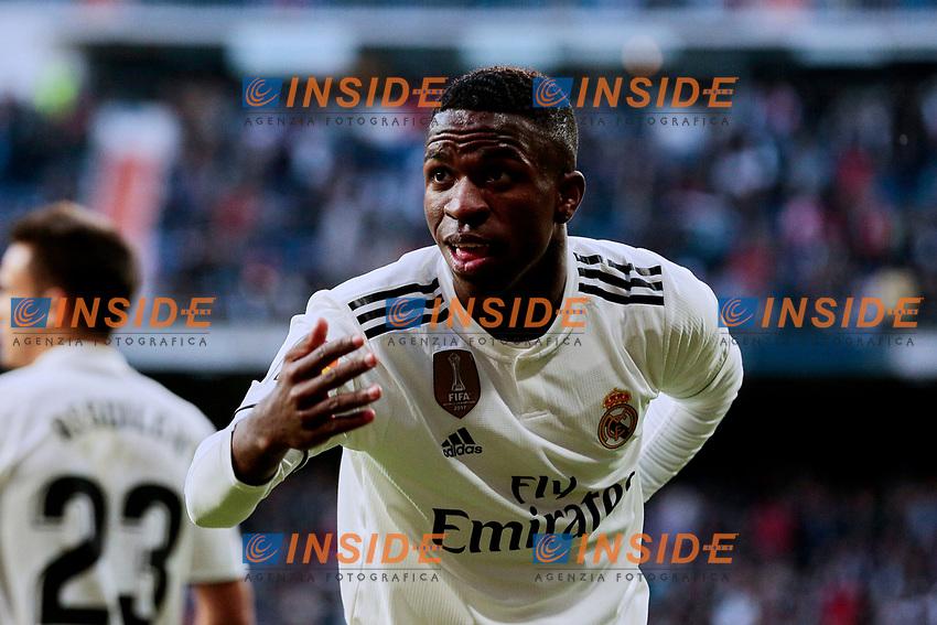 Real Madrid's Vinicius Jr. celebrate goal during La Liga match between Real Madrid and Real Valladolid at Santiago Bernabeu Stadium in Madrid, Spain. November 03, 2018. (ALTERPHOTOS/A. Perez Meca)<br /> Liga Campionato Spagna 2018/2019<br /> Foto Alterphotos / Insidefoto <br /> ITALY ONLY