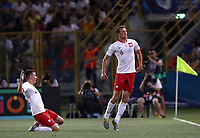 Football: Uefa under 21 Championship 2019, Italy -Poland, Renato Dall'Ara stadium Bologna Italy on June19, 2019.<br /> Poland's Krystian Bielik (r) celebrates after scoring with his teammate Karol Fila (l) during the Uefa under 21 Championship 2019 football match between Italy and Poland at Renato Dall'Ara stadium in Bologna, Italy on June19, 2019.<br /> UPDATE IMAGES PRESS/Isabella Bonotto