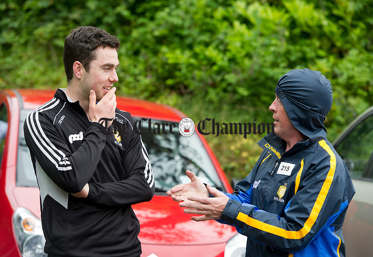 Clare hurler Conor Mc Grath and Patsy Neville chatting before the Oatfield Church re-development fund fun walk/run/cycle. Photograph by John Kelly.