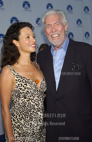 Actor JAMES COBURN & wife PAULA at the Paramount Pictures 90th Anniversary Gala at Paramount Studios, Hollywood..14JUL2002.  © Paul Smith / Featureflash