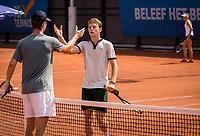 Amstelveen, Netherlands, 13 August 2020, NTC, National Tennis Center, KNLTB Wilcard Tournament,  Daniel de Jonge (NED) congratulates Daniel de Jonge (NED) (L)<br /> Photo: Henk Koster/tennisimages.com