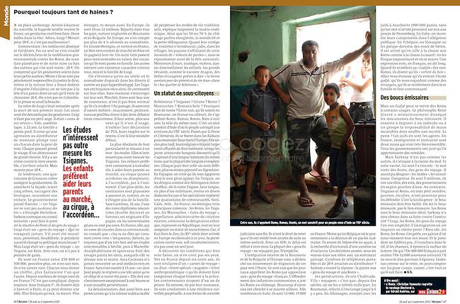 """ROMANIA, Tulcea, 08.2010..Tearsheet of the the feature """"Roma, they dream of return... to France"""" in Marianne, August 28th 2010. Text: Alain Léauthier. Photo: Bruno Cogez..ROUMANIE, Tulcea, 08.2010..Publication du reportage """"Roms, ils rêvent de retour... en France"""" dans Marianne du 28 août 2010. Texte : Alain Léauthier. Photos : Bruno Cogez.© Bruno Cogez"""