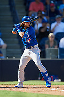 Toronto Blue Jays pinch hitter Bo Bichette (66) at bat during a Grapefruit League Spring Training game against the New York Yankees on February 25, 2019 at George M. Steinbrenner Field in Tampa, Florida.  Yankees defeated the Blue Jays 3-0.  (Mike Janes/Four Seam Images)