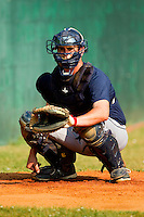 Pulaski Mariners catcher Toby Demello #4 catches a bullpen session prior to the game against the Bluefield Blue Jays at Bowen Field on July 1, 2012 in Bluefield, West Virginia.  The Mariners defeated the Blue Jays 4-3.  (Brian Westerholt/Four Seam Images)