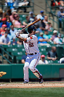 Rochester Red Wings first baseman ByungHo Park (52) bats during a game against the Scranton/Wilkes-Barre RailRiders on June 7, 2017 at Frontier Field in Rochester, New York.  Scranton defeated Rochester 5-1.  (Mike Janes/Four Seam Images)