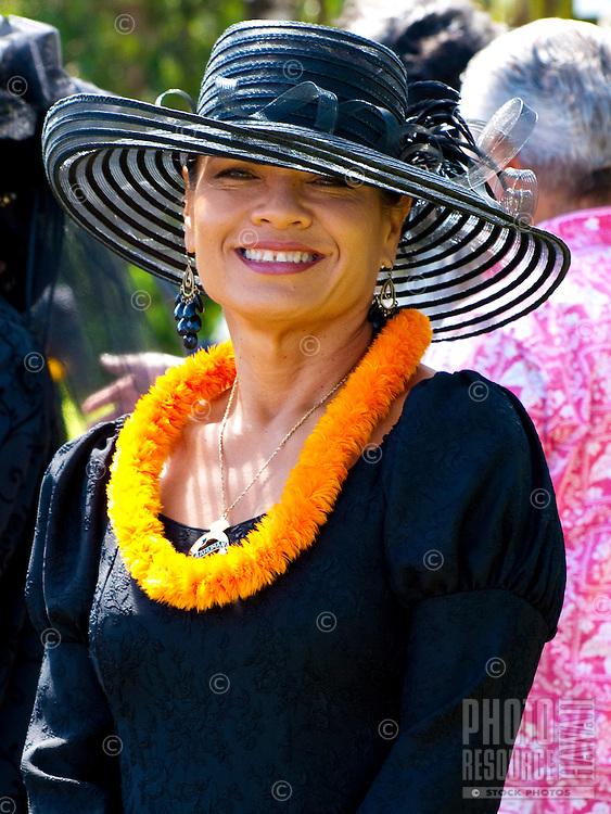 Beautiful Hawaiian Woman, member of the Ka'ahumanu Society at King Kamehameha Day Parade, North Kohala, Kapa'au town.