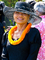 Beautiful Hawaiian Woman, member of the Ka'ahumanu Society at King Kamehameha Day Parade, North Kohala, Kapa'au town.