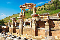 The Fountain of Emperor Trajan on Curetes Street constructed between 102 - 114 A.D. Ephesus Archaeological Site, Anatolia, Turkey.