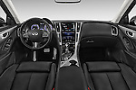 Stock photo of straight dashboard view of a 2015 Infiniti Q50 Sport 4 Door Sedan