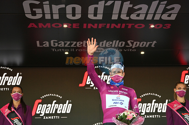 French Champion Arnaud Demare (FRA) Groupama-FDJ retains the points Maglia Ciclamino at the end of Stage 8 of the 103rd edition of the Giro d'Italia 2020 running 200km from Giovinazzo to Vieste, Sicily, Italy. 10th October 2020.  <br /> Picture: LaPresse/Massimo Paolone | Cyclefile<br /> <br /> All photos usage must carry mandatory copyright credit (© Cyclefile | LaPresse/Massimo Paolone)
