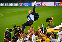 21st August 2020, Rheinenergiestadion, Cologne, Germany; Europa League Cup final Sevilla versus Inter Milan;  Ramon Rodriguez Verdejo, Director of Football of Seville celebrates with players following the UEFA Europa League Final