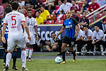 FC Internazionale Midfielder Joao Mario (R) in action during the International Champions Cup match between FC Bayern and FC Internazionale at National Stadium on July 27, 2017 in Singapore. Photo by Marcio Rodrigo Machado / Power Sport Images