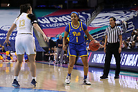 GREENSBORO, NC - MARCH 04: Dayshanette Harris #1 of the University of Pittsburgh holds the ball during a game between Pitt and Notre Dame at Greensboro Coliseum on March 04, 2020 in Greensboro, North Carolina.