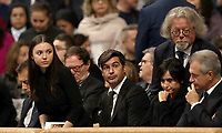 AS Roma's coach, Paulo Fonseca (c), attends Pope Francis' Mass in Saint Peter's Basilica on the occasion of World Day of the Poor, at the Vatican, 17 November 2019.<br /> UPDATE IMAGES PRESS/Isabella Bonotto<br /> <br /> STRICTLY ONLY FOR EDITORIAL USE