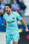 Luis Alberto Suarez Diaz of FC Barcelona celebrates during the La Liga 2017-18 match between CD Leganes vs FC Barcelona at Estadio Municipal Butarque on November 18 2017 in Leganes, Spain. Photo by Diego Gonzalez / Power Sport Images