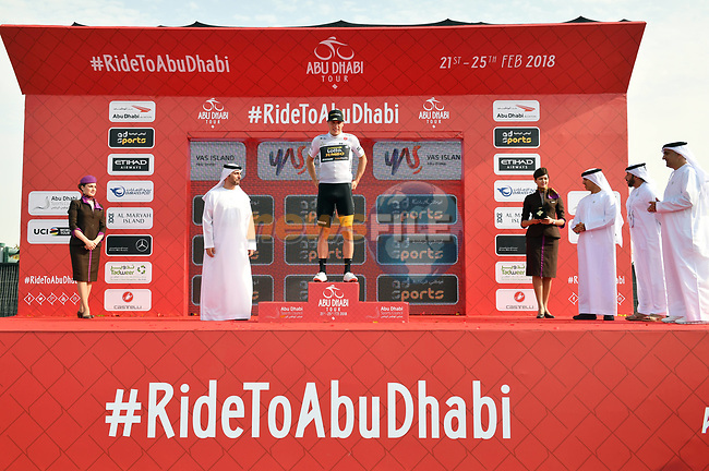 Danny Van Poppel (NED) Team Lotto NL-Jumbo takes over the young riders White Jersey at the end of Stage 2 of the 2018 Abu Dhabi Tour, Yas Island Stage running 154km from Yas Mall to Yas Beach, Abu Dhabi, United Arab Emirates. 22nd February 2018.<br /> Picture: LaPresse/Massimo Paolone | Cyclefile<br /> <br /> <br /> All photos usage must carry mandatory copyright credit (© Cyclefile | LaPresse/Massimo Paolone)