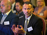 © Joel Goodman - 07973 332324 - all rights reserved . No onward sale/supply/syndication permitted . 28/07/2016 . Manchester , UK . RYAN GIGGS at the launch of the St Michael's city centre development , at the Lord Mayor's Parlour in Manchester Town Hall . Backed by The Jackson's Row Development Partnership (comprising Gary Neville , Ryan Giggs and Brendan Flood ) along with Manchester City Council , Rowsley Ltd and Beijing Construction and Engineering Group International , the Jackson's Row area of the city centre will be redeveloped with a design proposed by Make Architects . Photo credit : Joel Goodman