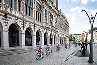 Team TotalEnergies setting the pase in front of the University Library <br /> <br /> 55th Grote Prijs Jef Scherens - Rondom Leuven 2021 (BEL)<br /> <br /> One day race from Leuven to Leuven (190km)<br /> ridden over the final circuit of the 2021 World Championships road races <br /> <br /> ©kramon