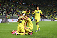 26th May 2021; STADION GDANSK  GDANSK, POLAND; UEFA EUROPA LEAGUE FINAL, Villarreal CF versus Manchester United:  GERARD MORENO celebrates as after scoring his goal  for 1-0 with JUAN FOYTH RAUL ALBIOL PAU TORRES ETIENNE CAPOUE