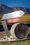 Italy, Alto Adige - Trentino (South Tyrol), Caldaro sulla strada del vino: historical wine estate Manincor located in the midst of the picturesque hills surrounding the Lake of Caldaro, sign at entrance | Italien, Suedtirol, Kaltern an der Weinstrasse: historisches Weingut Manincor inmitten der malerischen Huegellandschaft um den Kalterer See, Hinweisschild am Eingang