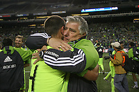Sigi Schmid head coach of the Seattle Sounders FC celebrates their victory. The Seattle Sounders FC defeated the Columbus Crew 2-1 during the US Open Cup Final at Qwest Field in Seattle,WA, on October 5, 2010.