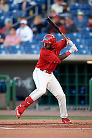 Clearwater Threshers left fielder Cornelius Randolph (2) at bat during a game against the Dunedin Blue Jays on April 7, 2017 at Spectrum Field in Clearwater, Florida.  Dunedin defeated Clearwater 7-4.  (Mike Janes/Four Seam Images)