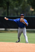 GCL Blue Jays second baseman Deiferson Barreto (13) throws to first during a game against the GCL Braves on June 27, 2014 at the ESPN Wide World of Sports in Orlando, Florida.  GCL Braves defeated GCL Blue Jays 10-9.  (Mike Janes/Four Seam Images)