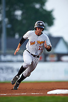 West Virginia Black Bears designated hitter Daniel Arribas (23) running the bases during a game against the Batavia Muckdogs on August 31, 2015 at Dwyer Stadium in Batavia, New York.  Batavia defeated West Virginia 5-4.  (Mike Janes/Four Seam Images)